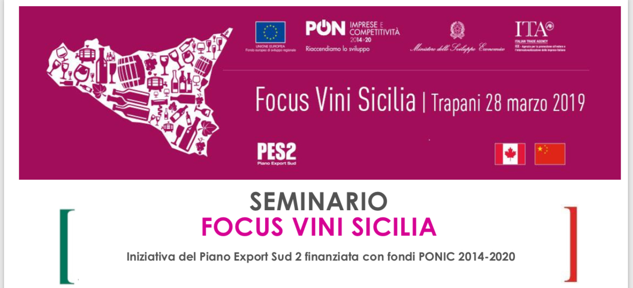 FOCUS VINI SICILIA: GIOVEDÌ 28 WORKSHOP ICE IN SICINDUSTRIA TRAPANI - 21/03/2019